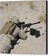 A U.s. Marine Zeros His M107 Sniper Canvas Print by Stocktrek Images