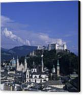 A View Of The City Of Salzburg From An Canvas Print by Taylor S. Kennedy