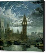 A View Of Westminster Abbey And The Houses Of Parliament Canvas Print by John MacVicar Anderson
