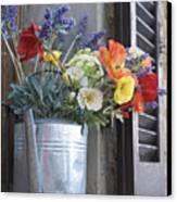 A Water Pitcher Holding Flowers Canvas Print by Keenpress