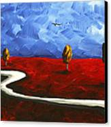 Abstract Art Original Landscape Painting Winding Road By Madart Canvas Print by Megan Duncanson