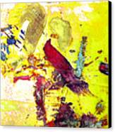 Abstract Bird On Yellow Canvas Print