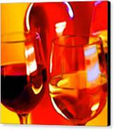 Abstract Bottle Of Wine And Glasses Of Red And White Canvas Print by Elaine Plesser