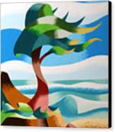 Abstract Rough Futurist Cypress Tree Canvas Print