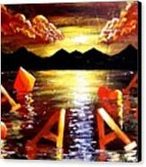 Abstract Sunset Landscape Seascape Floating Aces Suits Poker Art Decor Canvas Print