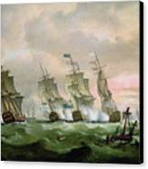 Admiral Sir Edward Hawke Defeating Admiral De Conflans In The Bay Of Biscay Canvas Print by Thomas Luny