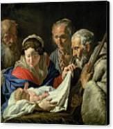 Adoration Of The Infant Jesus Canvas Print by Stomer Matthias