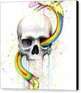 Adventure Time Skull Jake Finn Lady Rainicorn Watercolor Canvas Print by Olga Shvartsur