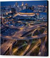 Aerial Of The Superdome In The Downtown Canvas Print by Tyrone Turner