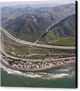 Aerial View Of Highway 1 As It Meets Canvas Print