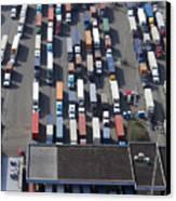 Aerial View Of Semi Trucks At Port Canvas Print by Don Mason