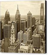 Aerial View Philadelphia Skyline Wth City Hall Canvas Print