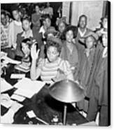 African Americans Lined Up To Register Canvas Print