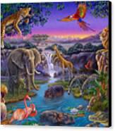 African Animals At The Water Hole Canvas Print by Anne Wertheim