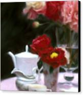 Afternnon Tea With Peonies Canvas Print