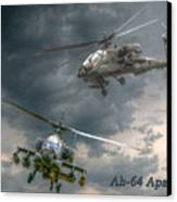 Ah-64 Apache Attack Helicopter In Flight Canvas Print by Randy Steele