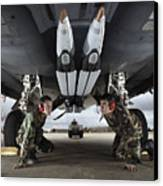 Airmen Check The Gbu-39 Small Diameter Canvas Print by Stocktrek Images