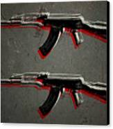 Ak47 Assault Rifle Pop Art Canvas Print by Michael Tompsett