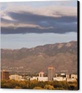 Albuquerque Skyline With The Sandia Mountains In The Background Canvas Print by Jeremy Woodhouse