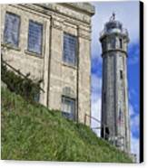 Alcatraz Cell House And Lighthouse Canvas Print by Daniel Hagerman