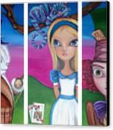 Alice In Wonderland Inspired Triptych Canvas Print