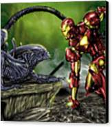 Alien Vs Iron Man Canvas Print by Pete Tapang