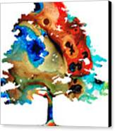 All Seasons Tree 3 - Colorful Landscape Print Canvas Print by Sharon Cummings