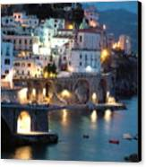 Amalfi Coast At Night Canvas Print