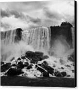 American And Bridal Veil Falls With Luna Island And Deposited Talus Niagara Falls New York State Usa Canvas Print by Joe Fox