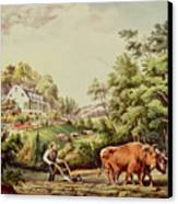 American Farm Scenes Canvas Print by Currier and Ives