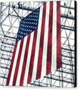 American Flag In Kennedy Library Atrium - 1982 Canvas Print