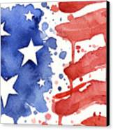 American Flag Watercolor Painting Canvas Print
