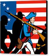 American Revolutionary Soldier Marching Canvas Print by Aloysius Patrimonio