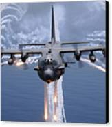 An Ac-130h Gunship Aircraft Jettisons Canvas Print