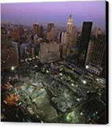 An Aerial View Of Ground Zero Canvas Print by Ira Block