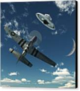 An American P-51 Mustang Gives Chase Canvas Print by Mark Stevenson