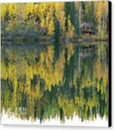 An Autumn View Of A Cabin Reflected Canvas Print