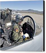 An F-15 Pilot Performs Preflight Checks Canvas Print by HIGH-G Productions