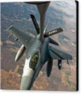 An F-16 Fighting Falcon Receiving Fuel Canvas Print