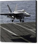 An Fa-18e Super Hornet Prepares To Land Canvas Print by Stocktrek Images