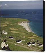 An Irishman Overlooks Cottages That Canvas Print