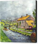 An Old Stone Cottage In Great Britain Canvas Print