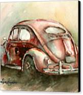 An Oval Window Bug In Deep Red Canvas Print by Michael David Sorensen