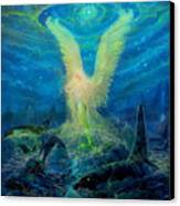 Angel Tarot Card Mermaid Angel Canvas Print by Steve Roberts