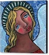 Angel With Green Halo Canvas Print by Julie-ann Bowden