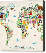 Animal Map Of The World For Children And Kids Canvas Print by Michael Tompsett