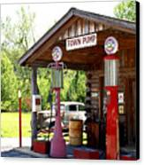 Antique Car And Filling Station 2 Canvas Print by Douglas Barnett