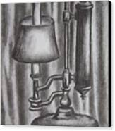 Antique Lamp In Charcoal Canvas Print