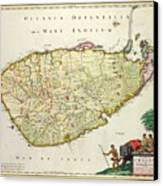 Antique Map Of Ceylon Canvas Print by Nicolas Visscher