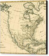 Antique Map Of North America Canvas Print